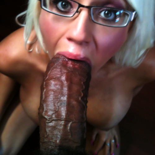 Platinum Blonde with Glasses Sucking a Fat Dick