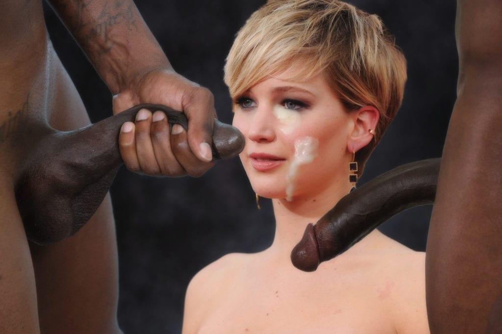 Jennifer Lawrence Goes Black Only - image jlcum-1024x681 on http://blackcockcult.com